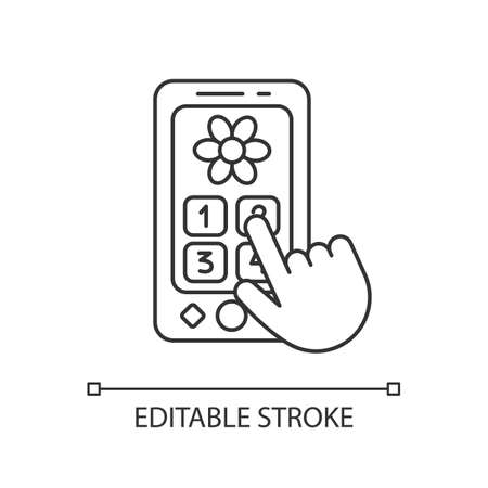 Playphone pixel perfect linear icon. Pretend telephone for toddlers. Interactive toy phone. Thin line customizable illustration. Contour symbol. Vector isolated outline drawing. Editable stroke