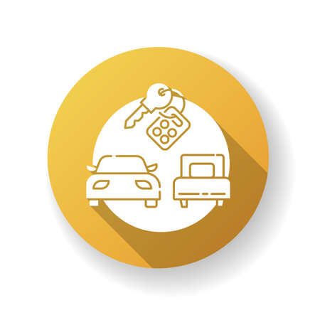 Package tour yellow flat design long shadow glyph icon. Budget tourism, car rental. Tourist agency service, carsharing. Holiday road trip. Automobiles and keys silhouette RGB color illustration