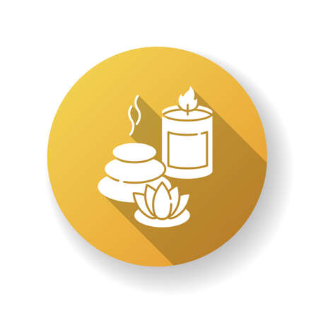 Spa resort yellow flat design long shadow glyph icon. Wellness tourism, health sanatorium. Relaxation procedures. Spa stones, lotus flower and aroma candle silhouette RGB color illustration 向量圖像