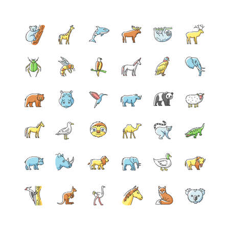 Animals RGB color icons set. Different wildlife, diverse fauna. Common and exotic animal species. Flying, land and sea creatures. Isolated vector illustrations 向量圖像