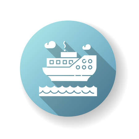 Sea cruise blue flat design long shadow glyph icon. Nautical tourism, holiday voyage, sailing. Luxurious journey, vacation on ocean liner. Large passenger ship silhouette RGB color illustration 向量圖像
