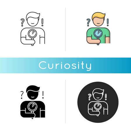 Curiosity icon. Human feeling, personal quality. Linear black and RGB color styles. Search for answer, problem solution. Curious person holding magnifying glass. Isolated vector illustrations
