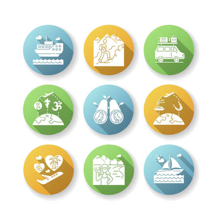 Vacation trip flat design long shadow glyph icons set. Active tourism, adventure and travel. Different tourist recreational activities on holidays. Silhouette RGB color illustrations