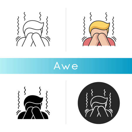 Awe icon. Human feeling, emotional reaction, mental state. Surprise fear and wonder, panic attack. Linear black and RGB color styles. Trembling, shocked person isolated vector illustrations 向量圖像