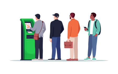 Waiting near ATM semi flat RGB color vector illustration. People queue to pay with terminal. Withdraw cash from kiosk. Bank customers isolated cartoon character on white background