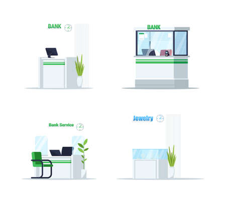 Desk for bank service semi flat RGB color vector illustration set. Manager workplace for customer support. Indoor lobby table. Reception counter isolated cartoon object on white background collection