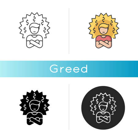 Greed icon. Bad personal trait, negative quality,. Linear black and RGB color styles. Feeling of avarice, lust for money. Greedy businessman, corrupted person isolated vector illustrations
