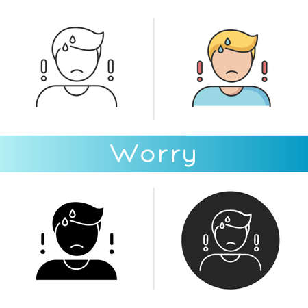 Worry icon. Emotional stress, anxiety. Linear black and RGB color styles. Concerned, nervous mental state. Bad feeling, trouble reaction. Worried, anxious person isolated vector illustrations