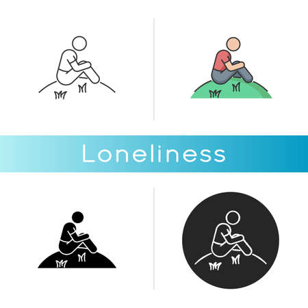 Loneliness icon. Human feeling, melancholy, emotional stress, depression. Linear black and RGB color styles. Mental state, psychological problem. Lonely person isolated vector illustrations Vettoriali
