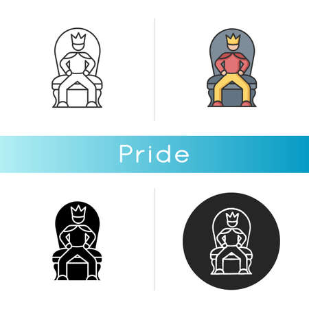 Pride icon. Arrogant behaviour, feeling of self importance. Linear black and RGB color styles. High minded, haughty temperament. Proud person sitting on throne isolated vector illustrations