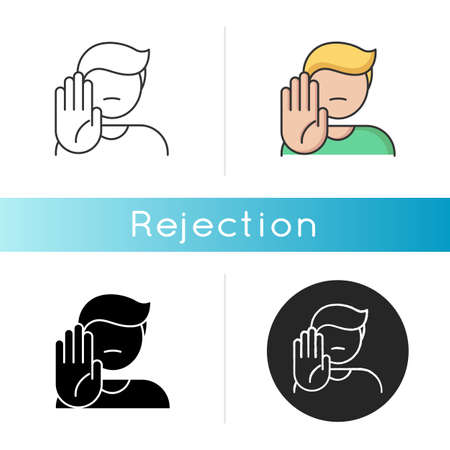 Rejection icon. Negative response, denial, offer refusal. Forbiddance, displeasure and disapproval. Linear black and RGB color styles. Person showing stop gesture isolated vector illustrations 向量圖像