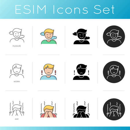 Good and bad emotions icons set. Feelings of pleasure, worry and awe. Linear, black and RGB color styles. Sense of satisfaction, anxiety and panic attack. Isolated vector illustrations