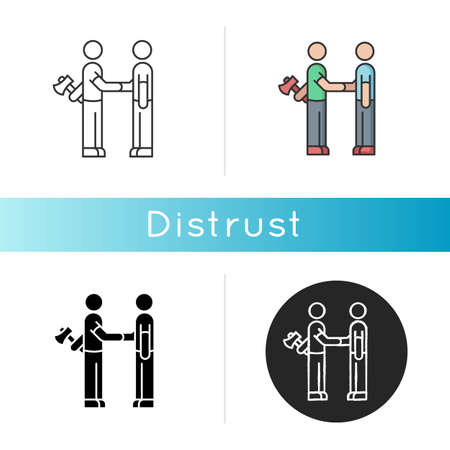 Distrust icon. Lack of trust, insecurity, betrayal. Negative mindset. Linear black and RGB color styles. Untrustworthy behaviour. Shaking hands with traitor isolated vector illustrations