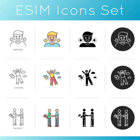 Good feelings and bad qualities icons set. Feelings of happiness, euphoria and distrust. Linear, black and RGB color styles. Good mood, excitement and betrayal. Isolated vector illustrations 向量圖像
