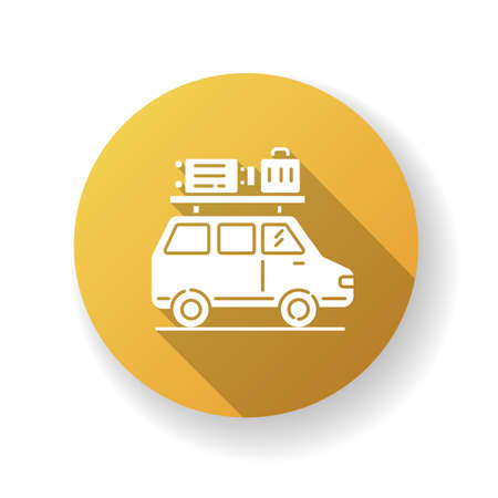 Road trip yellow flat design long shadow glyph icon. Budget tourism, family vacation. Holiday season recreational activity, traveling by car. Auto with luggage silhouette RGB color illustration 向量圖像