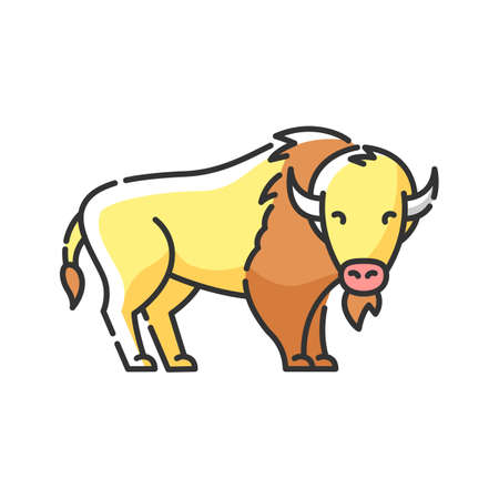 Bison RGB color icon. North American fauna, herbivore animal, endangered species. Cattle farm, domestic livestock. Large buffalo isolated vector illustration 向量圖像
