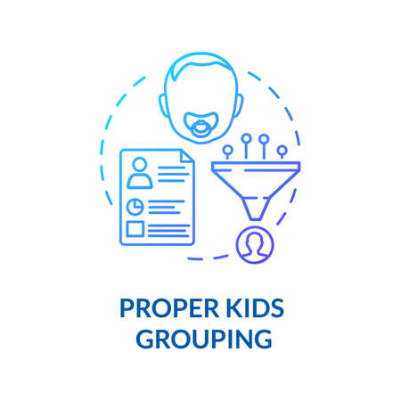 Preschoolers groups concept icon. Early childhood education. Social climate and baby care. Proper kids grouping idea thin line illustration. Vector isolated outline RGB color drawing