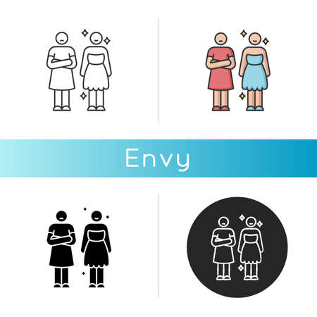 Envy icon. Negative emotion, human feeling, bad personality trait. Linear black and RGB color styles. Jealousy, mental displeasure. Happy and envious person isolated vector illustrations 向量圖像
