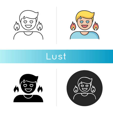 Lust icon. Passionate affection, strong sexual desire, lewdness. Linear black and RGB color styles. Concupiscence, emotional reaction. Person feeling aroused isolated vector illustrations 向量圖像