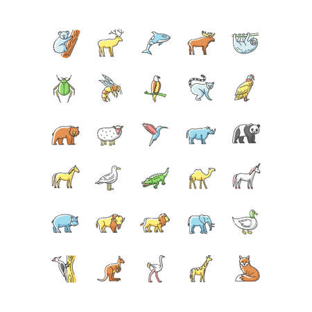 Wildlife RGB color icons set. Ordinary animals and tropical wild life. Different nature inhabitants, birds, mammals and sea life. Isolated vector illustrations