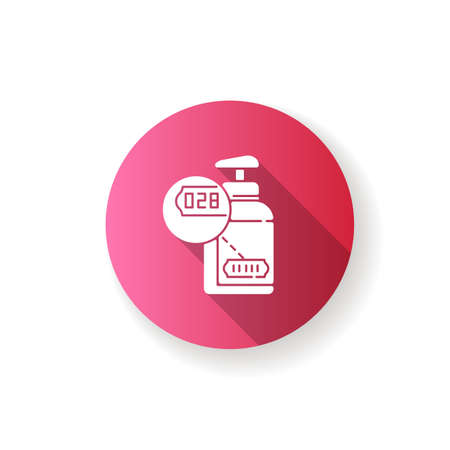 Batch number pink flat design long shadow glyph icon. Production ID, manufacturing process. Labeling product with barcode. Gas cylinder with serial number silhouette RGB color illustration