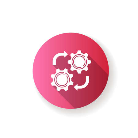 Maintenance pink flat design long shadow glyph icon. Industrial process, manufacturing technology. Professional mechanical repair service. Cogwheel mechanism silhouette RGB color illustration 向量圖像