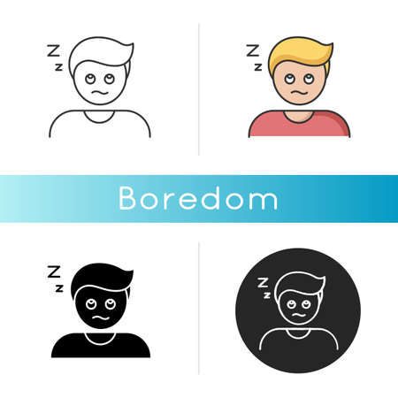 Boredom icon. Exhaustion, weariness, burnout. Linear black and RGB color styles. Feeling of tedium, sleep problem, insomnia. Disinterested, bored, sleepy person isolated vector illustrations