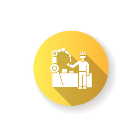 Employee training yellow flat design long shadow glyph icon. Manufacturing industry, professional production line maintenance. Factory worker near conveyor belt silhouette RGB color illustration