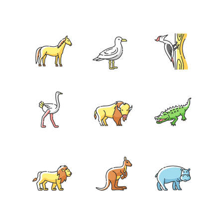 Flying and land animals RGB color icons set. Common birds and exotic wildlife. Diverse herbivore mammals and carnivore predators. Isolated vector illustrations
