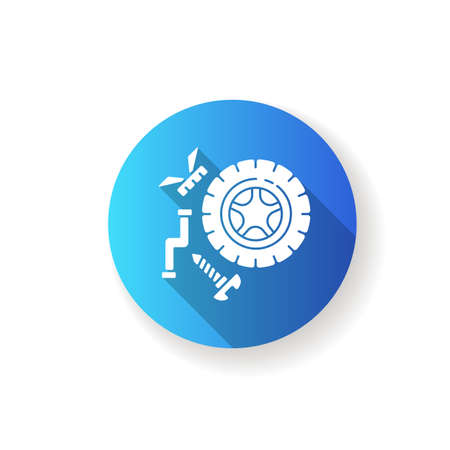 Spare parts blue flat design long shadow glyph icon. Industrial production process, car maintenance. Automobile repair service. Wheel and mechanical parts silhouette RGB color illustration