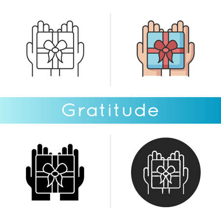 Gratitude icon. Thankfulness, sign of appreciation, feeling grateful. Special occasion, holiday celebration. Linear black and RGB color styles. Present, gift isolated vector illustrations