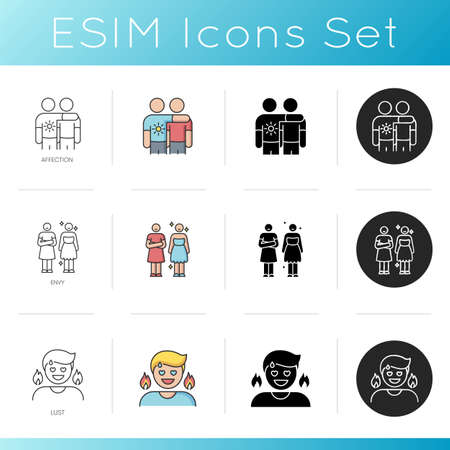 Human feelings and relationship icons set. Friendly affection, feeling of envy and lust. Linear, black and RGB color styles. Friendship, jealous behaviour and lewdness. Isolated vector illustrations Illustration