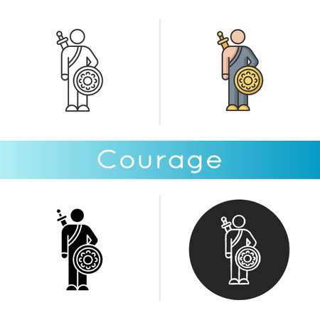 Courage icon. Feeling of bravery, fearlessness. Human psychology, mental state. Linear black and RGB color styles. Brave person, hero with sword and shield isolated vector illustrations Ilustrace