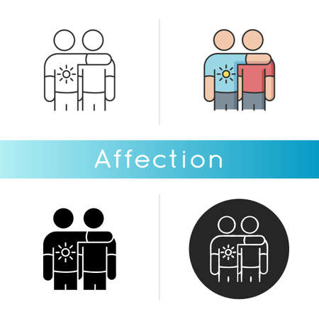 Affection icon. Emotional attachment, strong friendship. Linear black and RGB color styles. Positive feelings expression, friendly relationship. Friends together isolated vector illustrations