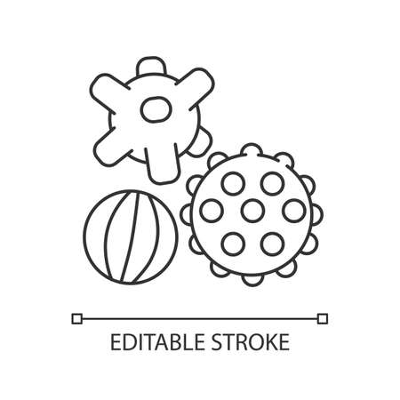 Sensory balls pixel perfect linear icon. Tactile and spiky balls. Fine and gross motor skills. Thin line customizable illustration. Contour symbol. Vector isolated outline drawing. Editable stroke