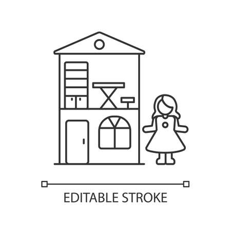 Dollhouse pixel perfect linear icon. Miniature playhouse with doll. Pretend games playing. Thin line customizable illustration. Contour symbol. Vector isolated outline drawing. Editable stroke