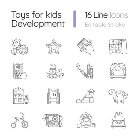 Toys for kids development pixel perfect linear icons set. Educational toys for children development. Customizable thin line contour symbols. Isolated vector outline illustrations. Editable stroke