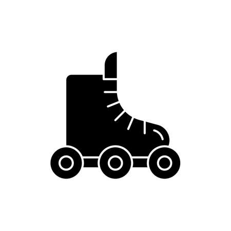 Rollerskate black glyph icon. Footwear for derby. Roller blades. Boot for fitness. Rollerblading exercise. Sport and recreation. Silhouette symbol on white space. Vector isolated illustration