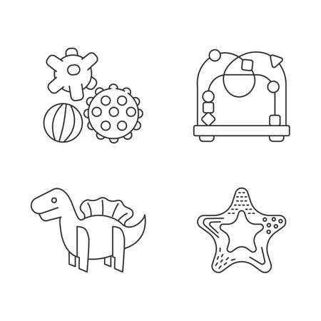 Children sensory toys pixel perfect linear icons set. Textured balls and bead maze. Fine and gross motor skills. Customizable thin line contour symbols. Isolated vector outline illustrations