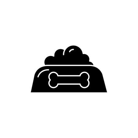 Pet food bowl black glyph icon. Feed dog. Dish for doggy. Nourishment treat for domestic animal. Online petshop. Nutrition snack. Silhouette symbol on white space. Vector isolated illustration