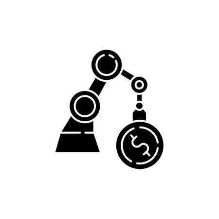 Business black glyph icon. Industrial production. Financial operation. Economy and banking. Machinery investment. Manufacture production. Silhouette symbol on white space. Vector isolated illustration 일러스트