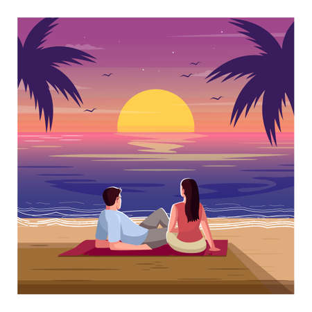 Romantic sunset semi flat vector illustration. Tropical beach. Woman and man watch waves. Palm trees on seascape. Couple on date in evening 2D cartoon characters for commercial use
