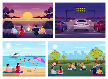 Summer recreation semi flat vector illustration set. Watch sunset in camp on sea beach. Public urban park. Picnic festival. Auto race. Resting 2D cartoon characters for commercial use collection 向量圖像