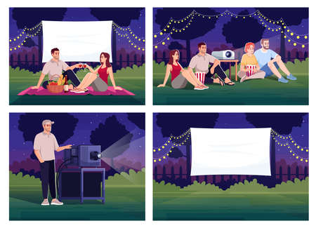 Outdoor home cinema semi flat vector illustration set. Couple on romantic date. Projectionist with device. Film watching outside. Friends 2D cartoon characters for commercial use collection