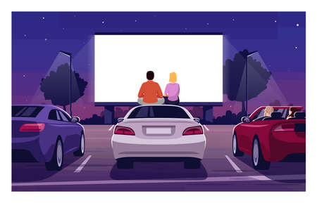 Romantic movie night semi flat vector illustration. Open air cinema. Drive in premiere. Weekend entertainment in public parking. Couple watch film 2D cartoon characters for commercial use 向量圖像
