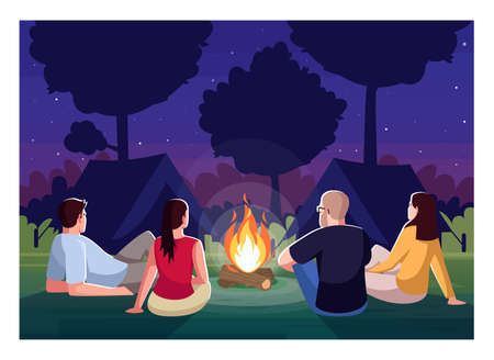 Camping at night semi flat vector illustration. People sit near campfire in evening. Bonfire in forest. Campground for group. Friends on recreation in woods 2D cartoon characters for commercial use 向量圖像