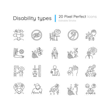 Disability types linear icons set. Blindness and deafness. Developmental delay form dyslexia. Customizable thin line contour symbols. Isolated vector outline illustrations. Editable stroke 向量圖像