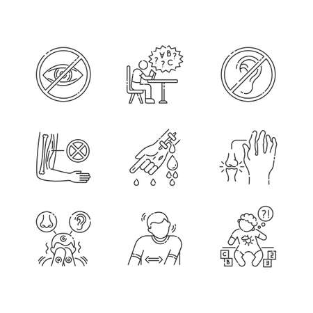 Illness types linear icons set. Deafness and blindness. Student with dyslexia. Muscular dystrophy. Customizable thin line contour symbols. Isolated vector outline illustrations. Editable stroke