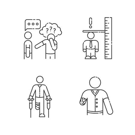 Medical condition linear icons set. Asperger syndrome. Difficulty with social interaction. Customizable thin line contour symbols. Isolated vector outline illustrations. Editable stroke 向量圖像