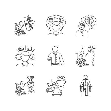 Patient with disability linear icons set. Handicapped man. Paralyzed person in wheelchair. Customizable thin line contour symbols. Isolated vector outline illustrations. Editable stroke Illustration